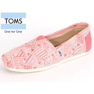 New TOMS Alpargata Pink Neon Tribal Classic SlipOn